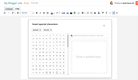 How To Add Special Characters In Blogger Posts My Blogger Lab