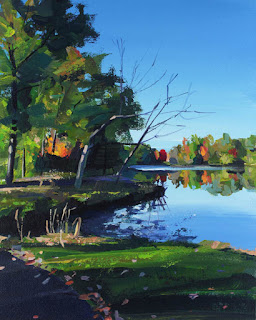 An acrylic painting of autumn leaves at Lake Audubon.