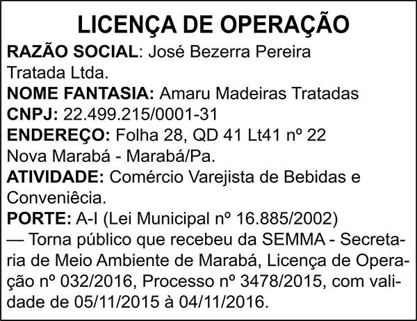 LICENÇA DE OPERAÇÃO - JOSÉ BEZERRA PEREIRA