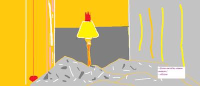 desenho, abajur, amarela, luz
