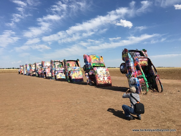 overview of Cadillac Ranch in Amarillo, Texas