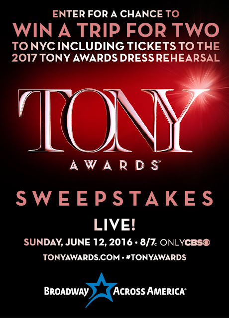 Broadway Across America wants has a chance for you to enter once for the opportunity to win a trip for two to NYC with tickets to attend the 2017 Tony Awards Dress Rehearsal!