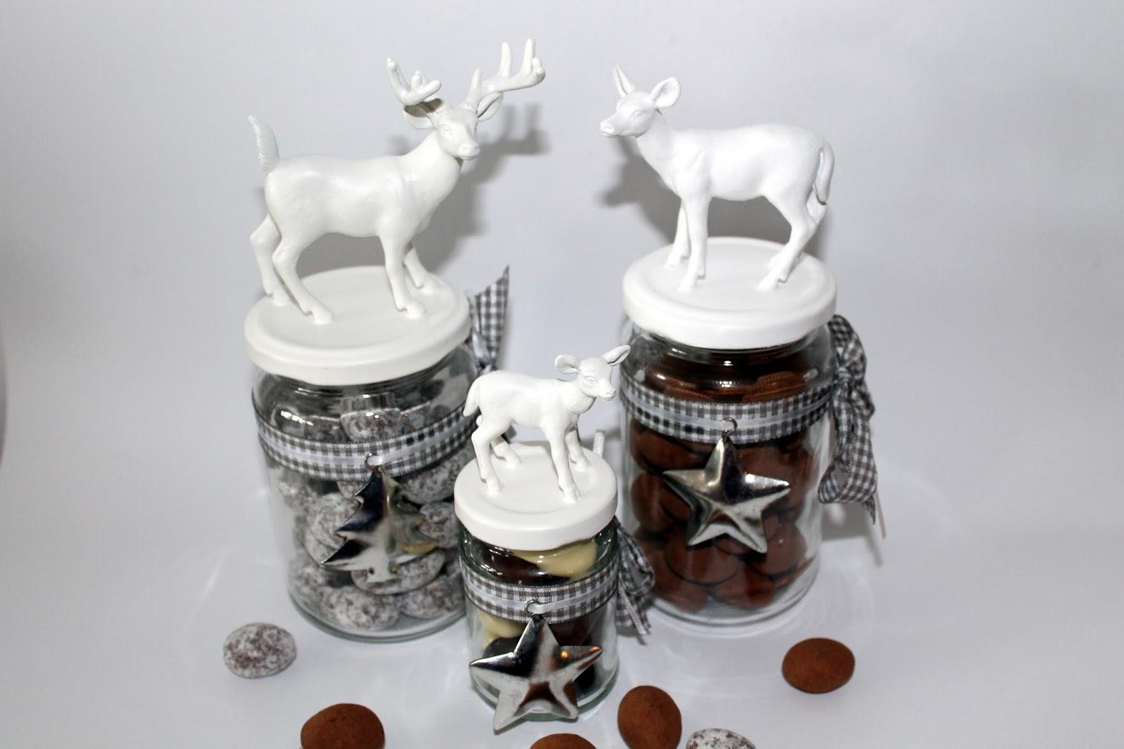 diy weihnachtsgl ser vorratsgl ser mit hirschen und. Black Bedroom Furniture Sets. Home Design Ideas