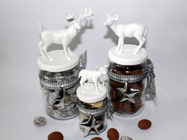 DIY Weihnachtsgläser / Vorratsgläser mit Hirschen und Rehen