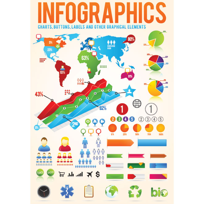 Vector Infographic designer Kit Charts, Buttons and Labels