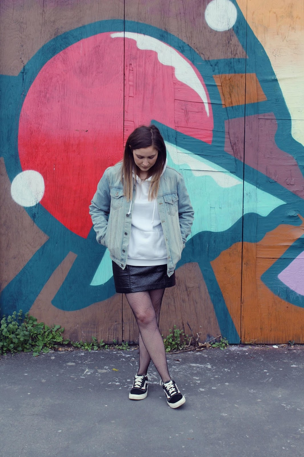 Topman denim jacket, Boohoo hoody, H&M skirt, Vans, Boohoo tights