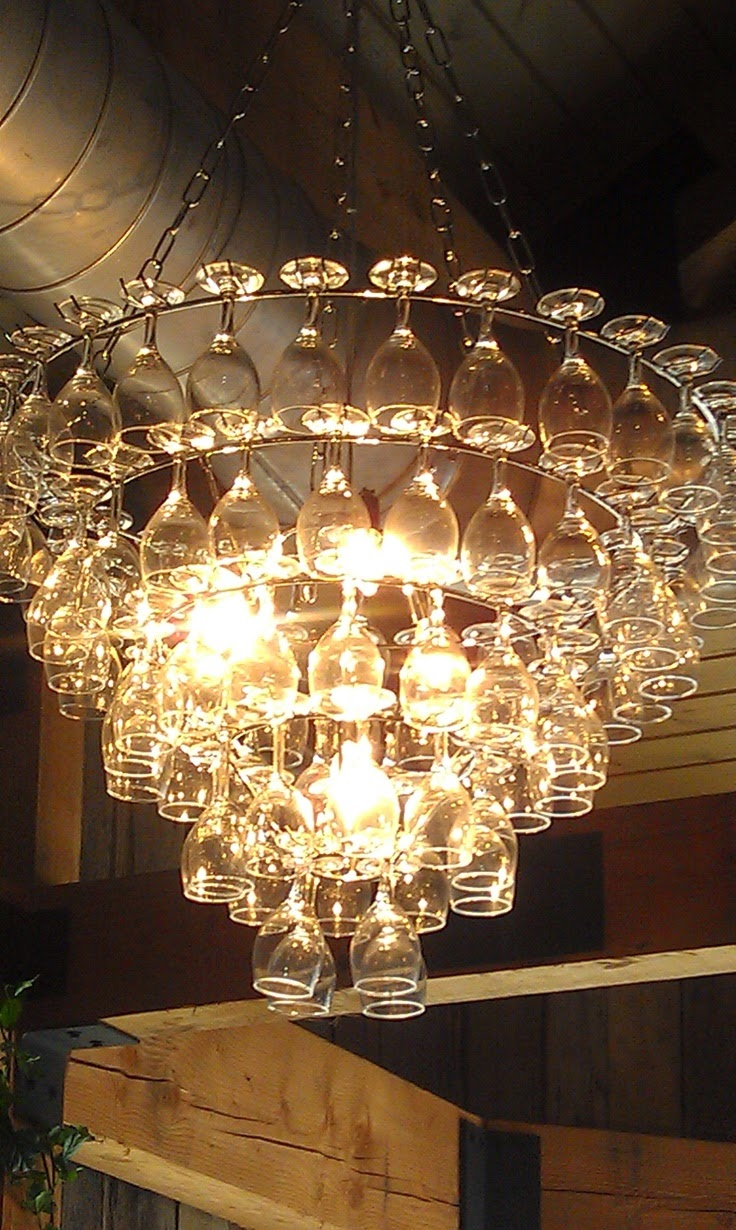 The Art Of Up-Cycling: Wine Glass Chandeliers- Funky Cool ...