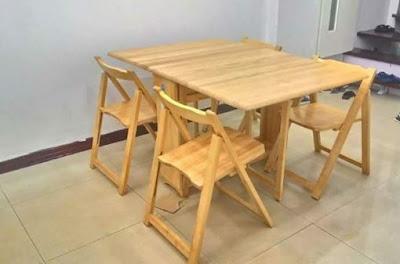 Giới thiệu mẫu bàn ăn gấp bằng gỗ Tùng dành cho nhà nhỏ 2