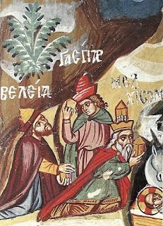 Οι Μάγοι με αναγεγραμμένα τα ονόματά τους: Βαλτάσαρ – Μελχιόρ – Γάσπαρ.