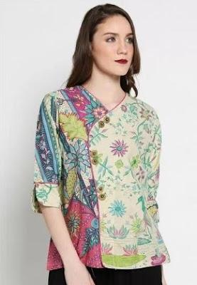 Desain baju batik model china modern casual untuk wanita
