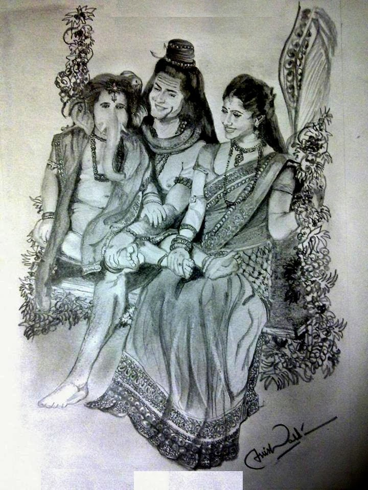 Harshitha2013 Lord Siva With His Wife Parvathi And Ganesha Pencil