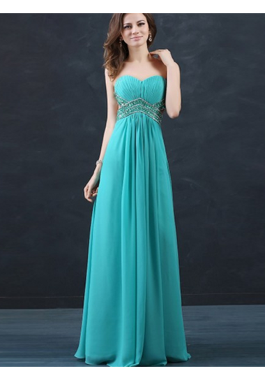 A-line Strapless Floor-length Chiffon Prom Dresses/Evening Dresses