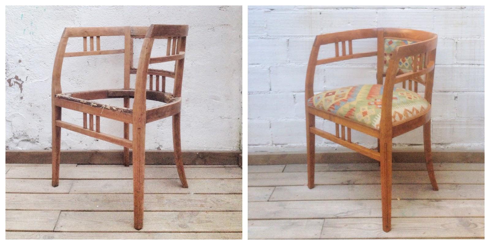 Antes y después - Butaca tapizada con alfombra Kilim - Studio Alis