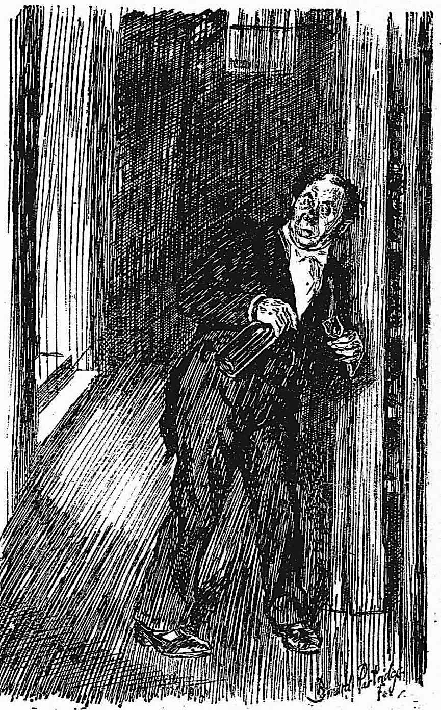 an illustration by J. Bernard Partridge of a drunk man sneaking some alcohol