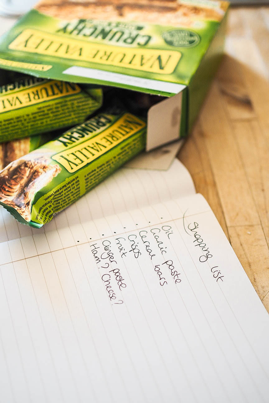 Shopping list and Nature Valley bars