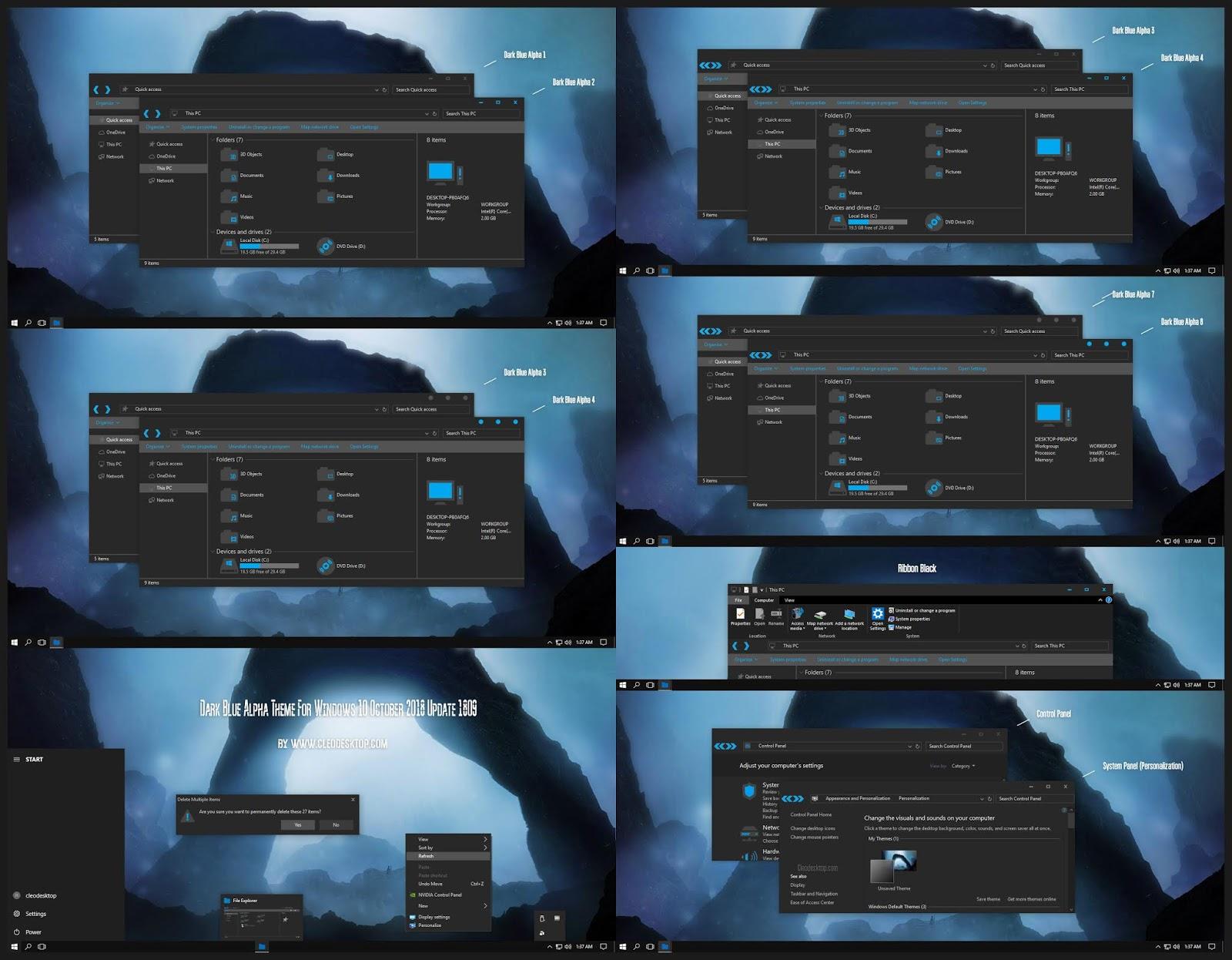 Dark Blue Alpha Theme Windows10 October 2018 Update 1809