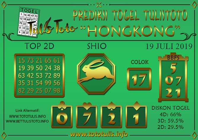 Prediksi Togel HONGKONG TULISTOTO 19 JULI 2019