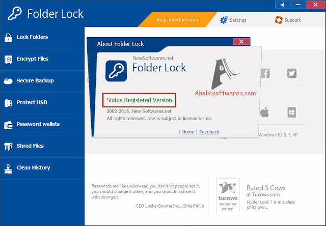Folder Lock is a full suite solution letting you keep your personal files encrypted and locked, while keeping an automatic and real-time backup of encrypted files to an online.