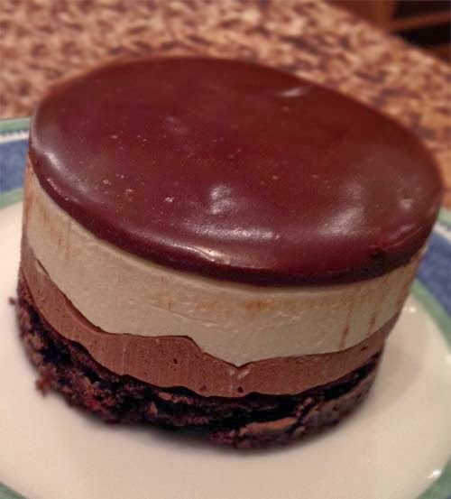 Three layers of delicious: Dark Chocolate Mousse, White Chocolate Mousse and Chocolate Cake.