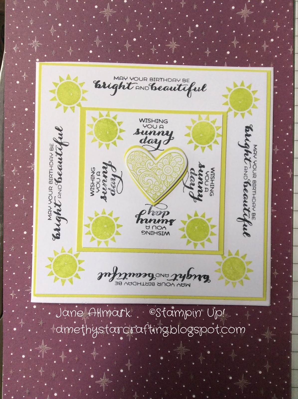 Amethystar Crafting Stampin Up Stamparatus Sunshine Wishes Sunny
