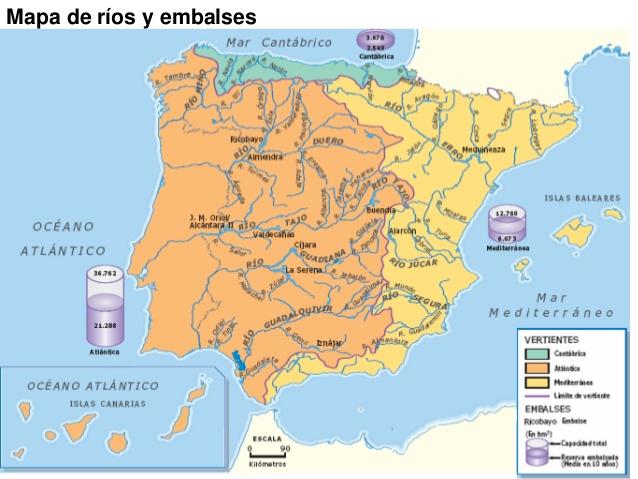Geografia E Historia Ies Pablo Diez Mapa De Los Rios Y Embalses