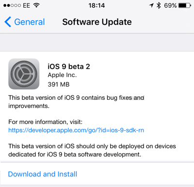 iOS 9 Beta 2 OTA Update