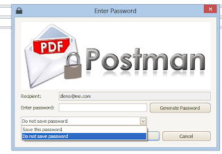 Enter a password in PDF Postman.