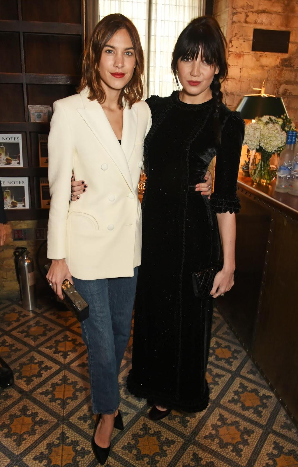 Last-Minute Easy Holiday Party Outfit — Alexa Chung in a White Blazer, Lace Top, Jeans, and Black Pumps