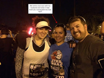 My husband, sister-in-law, and me running the runDisney Star Wars rebel challenge half marathon in 2015.