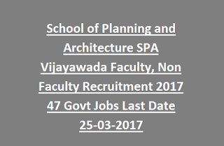 School of Planning and Architecture SPA Vijayawada Faculty, Non Faculty Recruitment 2017 47 Govt Jobs Last Date 25-03-2017