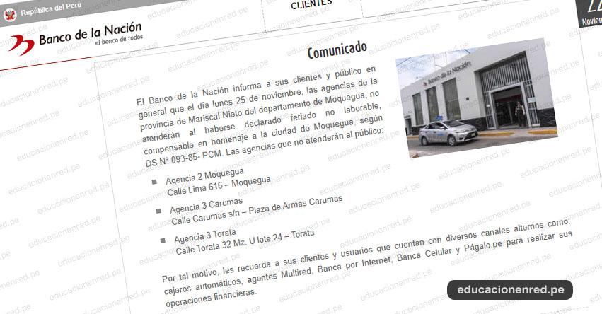 BN: Banco de la Nación no atenderá el lunes 25 de noviembre en las agencias de la provincia de Mariscal Nieto - Moquegua - www.bn.com.pe