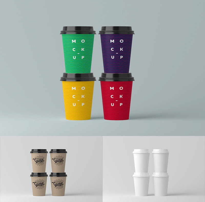 Paper Cups Mock-Up PSD