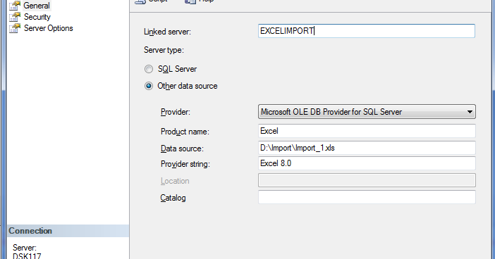 Linked Server and OPENQUERY with Execl Source - SQL Server