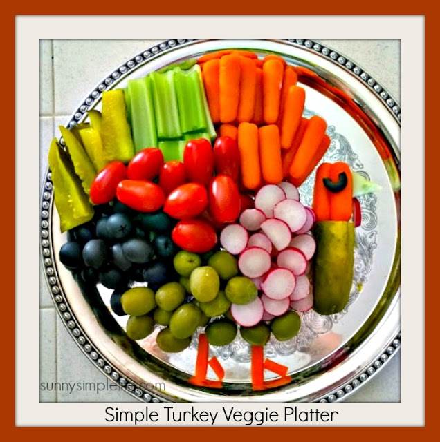 Sunny Simple Life- Turkey Veggie Platter-From My Front Porch To Yours- Treasure Hunt Thursday