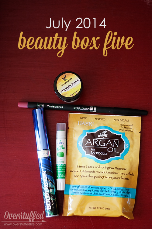 Beauty Box Five July 2014 Review: Beauty subscription box including Argan Oil conditioner, Revlon mascara, Body Drench lip balm, Starlooks lip liner and Anna Naturals Walnut scrub.
