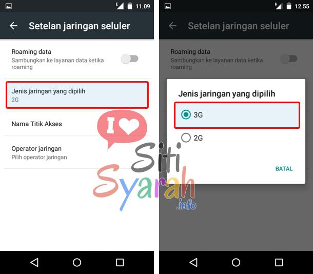 cara mengubah jaringan android dari e ke h