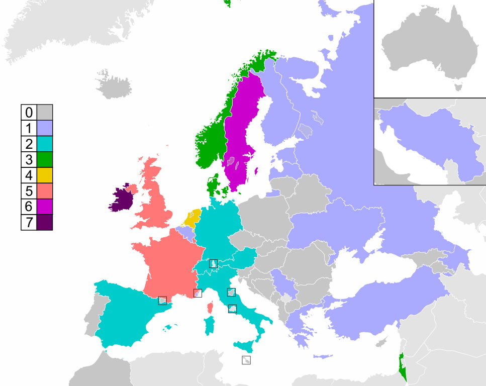Map showing each country's number of Eurovision wins up to and including 2015