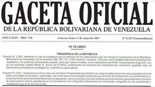 "En Gaceta Extraordinaria N° 6.295  ""Decreto de convocatoria a Asamblea Nacional Constituyente"""