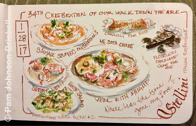 Stellini Italian Restaurant, Hilton Head Island SC, food illustration, event illustraton