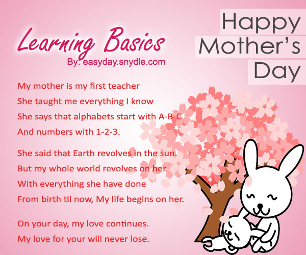Inspiring innovation mother's day card poems for kids Childrens preschoolers