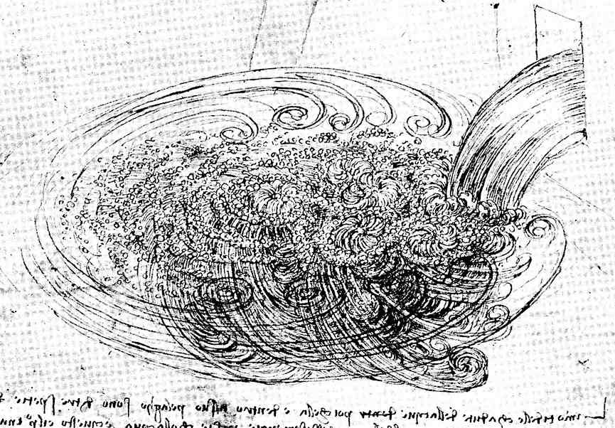 a drawing by Leonardo Da Vinci, a study of pouring water