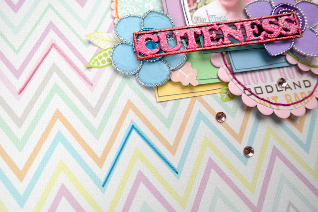 Multi-Color Embossed Chipboard on a Whimsical Scrapbook Layout by Dana Tatar