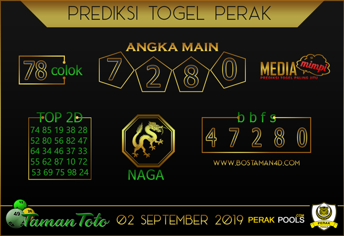 Prediksi Togel PERAK TAMAN TOTO 02 SEPTEMBER 2019