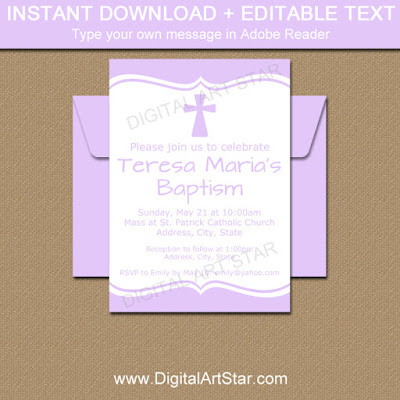 lavender baptism invitation template