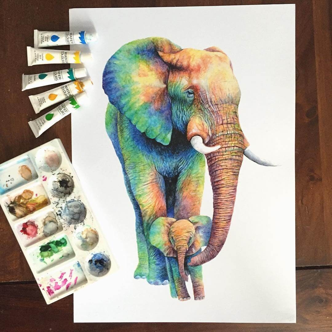 03-Mother-and-Baby-Elephant-Kathrin-Schwarz-Animal-Paintings-in-Different-Styles-www-designstack-co