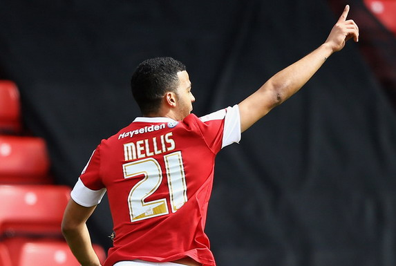Barnsley player Jacob Mellis celebrates after scoring the opening goal against Hull City