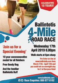 4 mile race in East Cork - Wed 17th Apr 2019