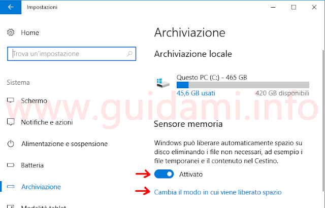 Windows 10 Impostazioni Sensore memoria