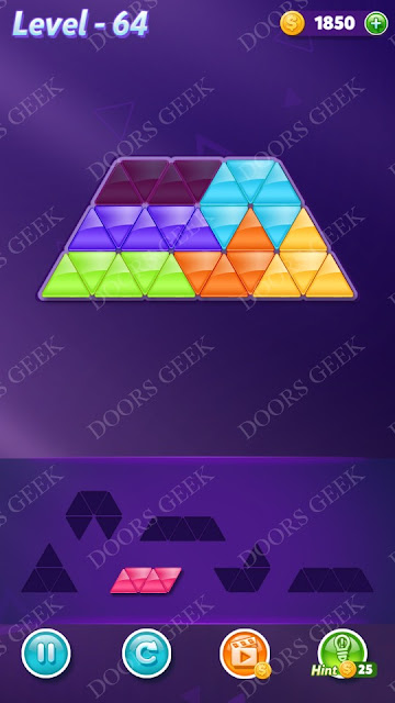 Block! Triangle Puzzle 6 Mania Level 64 Solution, Cheats, Walkthrough for Android, iPhone, iPad and iPod