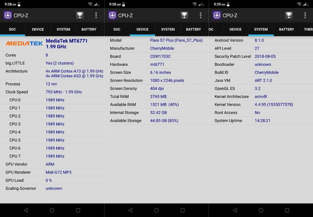 Cherry Mobile Flare S7 Plus CPU-Z Info